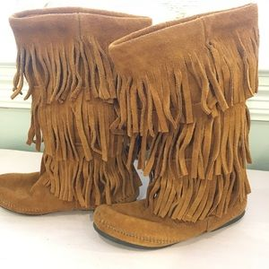 Minnetonka three layer fringe boots.